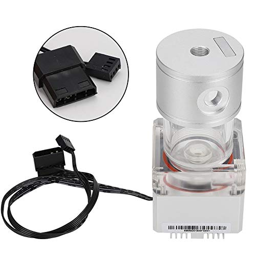 Hakeeta 800L/H PC Cooled Water Pump + Water Cooling Tank,Multiple Protections to Ensure The Safe Operation,for CPU PC Computer Cooling System,Htable Performance(Silver)