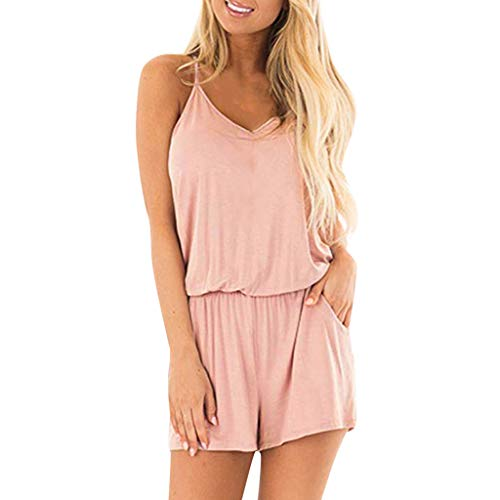 - Tantisy ♣↭♣ Women Summer Sleeveless Romper Casual Tank Top Short Rompers Jumpsuits with Pockets Pink