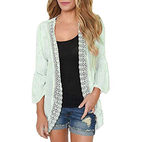 - Syban Womens Solid Lace Long Sleeve Chiffon Cardigan Loose Kimono Blouse Tops(Small,X-Green)