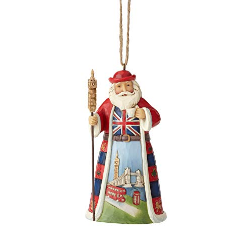 Large Santa Hanging Ornaments - Enesco Jim Shore Heartwood Creek British Santa Hanging Ornament, 4.5