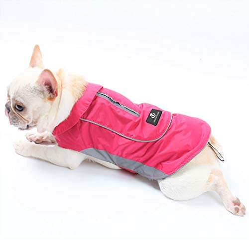 UsefulThingy Dog Rain Coats for Small Medium or Large Dogs - Rain Jacket with Reflective Stripes for Safety - Warm Waterproof Raincoat with Harness Hole, 7 Sizes 3 Colors
