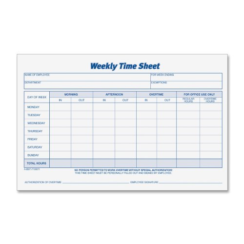 Tops Weekly Time Sheet - TOPS Weekly Employee Time Sheet, 8.5 x 5.5 Inches, 100 Sheets per Pad, 2 Pads/Pack (30071) by Tops