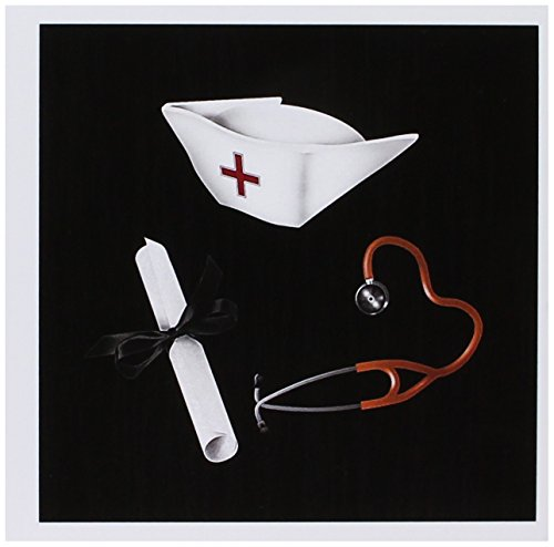 (3dRose Nurses Cap, Diploma, and Stethoscope, Red and Black - Greeting Cards, 6 x 6 inches, set of 12)