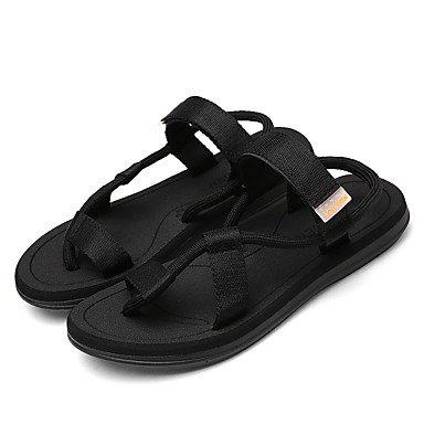 LvYuan Tacón Plano-Gladiador-Sandalias-Exterior Informal-PU-Negro Marrón Claro Gris Oscuro Black