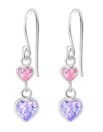(Hypoallergenic Sterling Silver Double Heart CZ Dangle Earrings for Kids (Pink &)