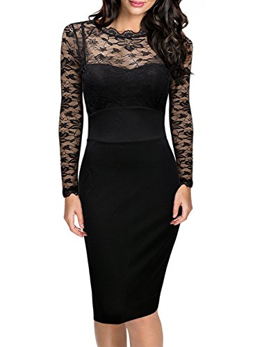 Missmay-Womens-Vintage-Long-Sleeves-Black-Lace-Slimmng-Club-Bodycon-Dress