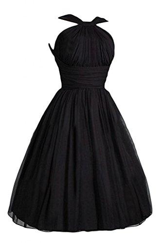 Victoria Dress In Black - WenSai Pleated Chiffon Prom Dress A-Line Short Bridesmaid Dresses Black us2