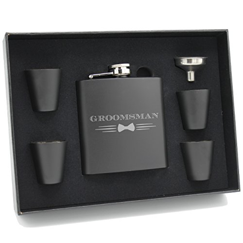 My Personal Memories Bow Tie Groomsmen Flask Gift Sets for Bachelor Party, Wedding (Groomsman, 6oz Flask with Gift Set)