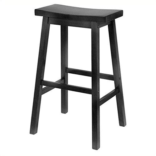 Winsome Wood 29-Inch Saddle Seat Bar Stool, Black