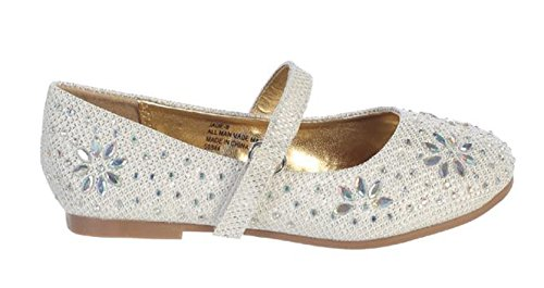 067faf697 Swea Pea   Lilli Girl Off-White Ivory Glitter Floral Stud Flat Shoes  Rhinestones Toddler