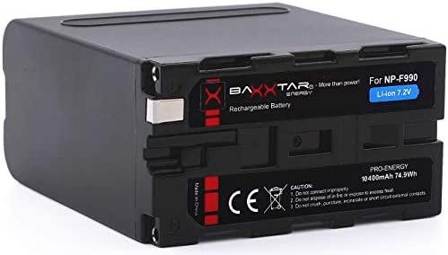 Baxxtar Pro - Batería de Repuesto Sony NP-F990 NP-F970 - LG Cells Inside (Real 10400mAh) - Black Series - Negro