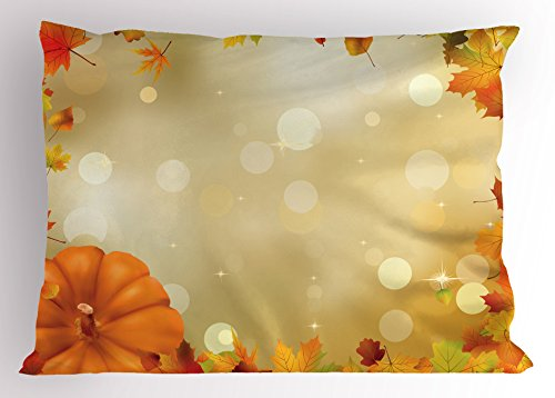 Lunarable Thanksgiving Pillow Sham, Abstract Bokeh Backdrop with Maple Aspen Leaves and Pumpkin Framework, Decorative Standard King Size Printed Pillowcase, 36 X 20 inches, Orange Yellow ()