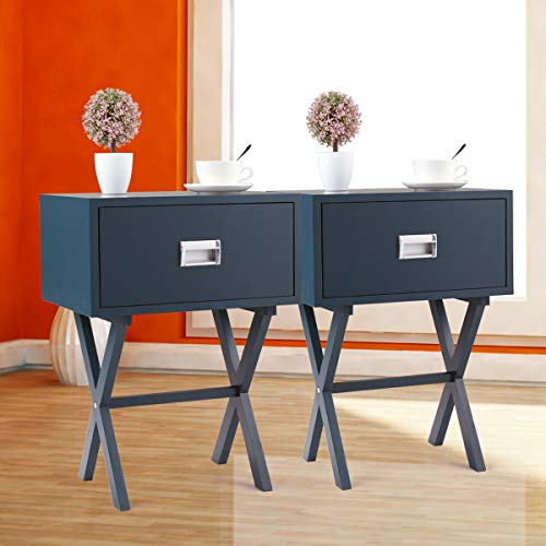 Side Decor 2 - Set of 2 Sofa Bed Side End Table Nightstand Living Room Home Decor w/Beam X-Shaped Base,Blue