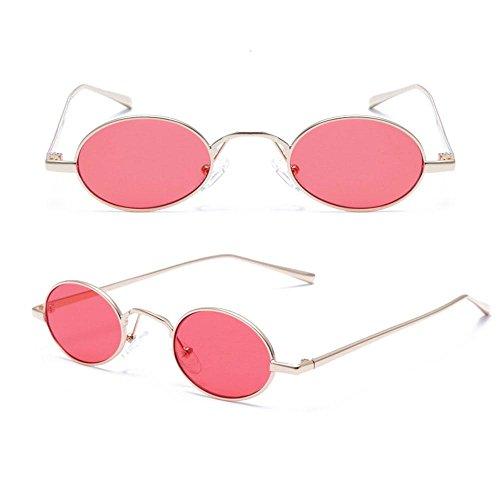 gafas lentes metal de Gafas With niñas de multicolor montura adolescentes unisex niños para estilo Grey Rojo vintage tintadas Aolvo mujeres hombres Tiny sol con ovaladas de sol bolsa para retro O7Eqgf