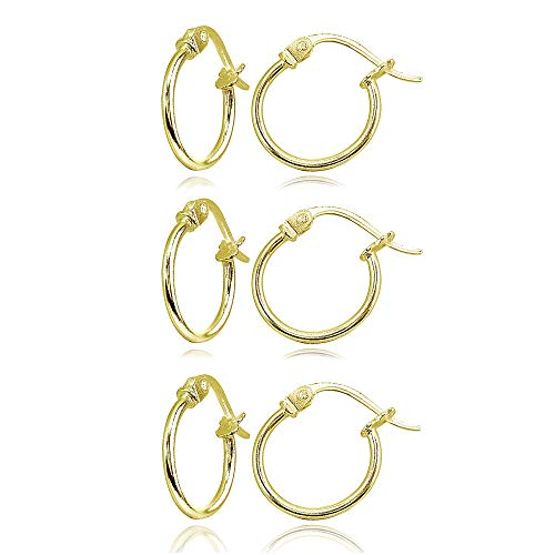 3 Pair Set Gold Flash Sterling Silver Tiny Small 12mm High Polished Round Thin Lightweight Unisex Click-Top Hoop Earrings