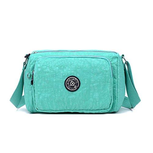 GSHGA Bolso De Mujer Bolsos De Nylon Impermeables Bolso De Hombro Bolso De Viaje,Grapepurple emerald