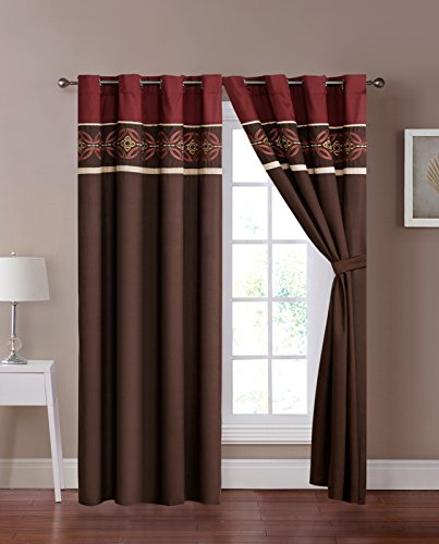 4-Pc Maury Floral Medallion Embroidery Stripe Curtain Set Burgundy Brown Beige Valance Sheer Liner Drape (Metal Ruched)