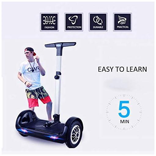 QINGMM Hoverboard, Auto Équilibrage Scooters avec Bluetooth Haut-Parleurs Et Lumières LED, Commande Manuelle Portable Scooter Électrique pour Adultes Enfants