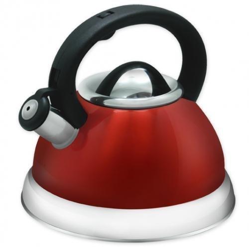 Stainless Steel Whistling Tea Kettle or Tea Maker w/Encapsulated Base 2.8 Liter - Red