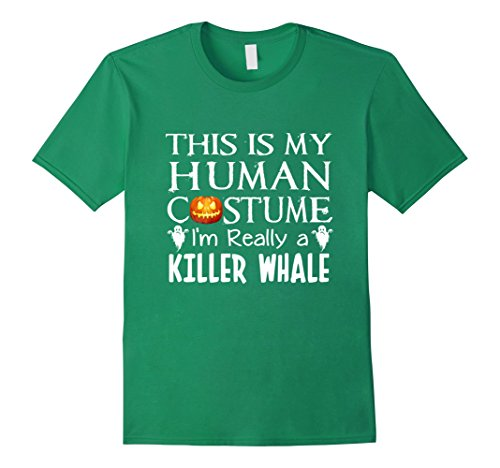 Killer Whale Adult Costumes (Mens My Human Costume KILLER WHALE shirt Gift Halloween Funny 2XL Kelly Green)