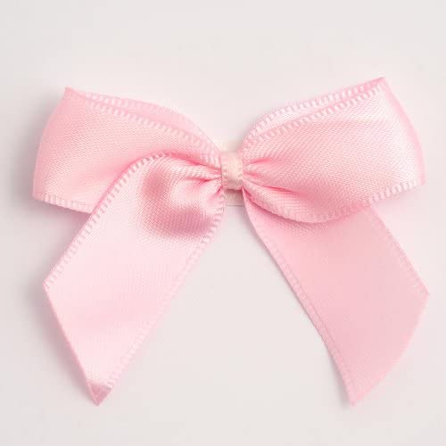 6 Large 6cm Satin Bows Self Adhesive Wedding Craft Sew Pink White Gift Box UK