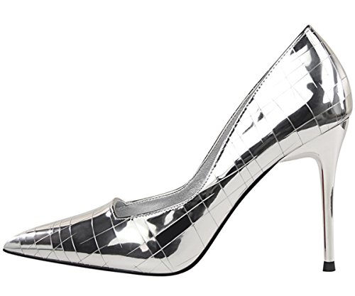 hauts Pointu Escarpins Talons De Stiletto Plaid Robe Escarpins Chaussures Argent BIGTREE Femmes dwqrnS8qAz
