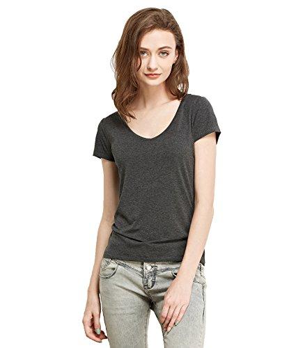 Stretch Rib Knit Tank (Liang Rou Women's Mini-Ribbed Stretchy Short Sleeve V-Neck Tee Dark Gray M)