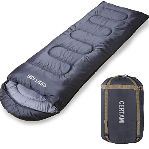 CERTAMI Sleeping Bag -Envelope Lightweight Portable Waterproof,for Adults 3 Season Outdoor Camping Hiking. (Dark Grey/Left Zip) by CERTAMI