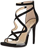 Jessica Simpson Women's Roelyn Heeled Sandal, Black Suede, 7 Medium US