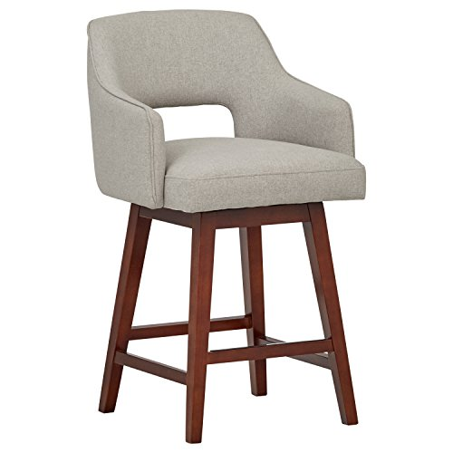 Rivet Malida Mid-Century Modern Open Back Swivel Kitchen Dining Room Counter Bar Stool, 37