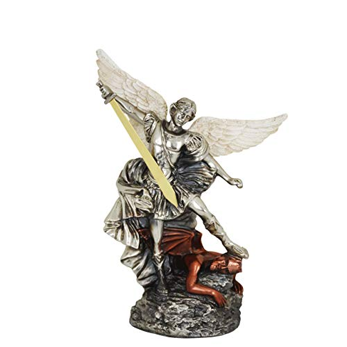 - High-End Decor - Saint Michael The Archangel Sculpture Statuette - Religious Art Metallic Home Decoration - Nickel/Brass/Copper (14 inches)