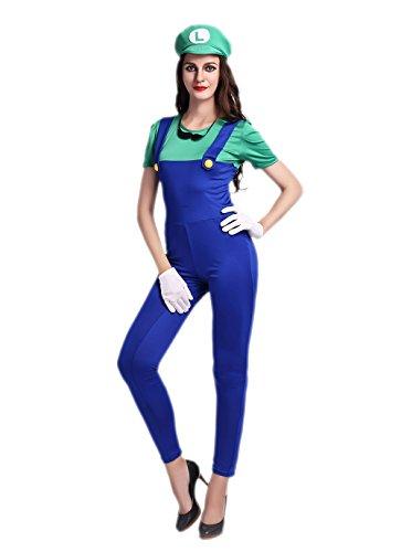 JJ-GOGO New Cosplay Women Bodysuit Style Plumber Costume (Sexy Green Plumber Costumes)