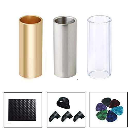 (Guitar Slide, Set of 1 Glass Slide, 1 Steel Slide and 1 Brass Guitar Slide, Bonus 6 Pcs Guitar Picks, and 4 Finger Picks)