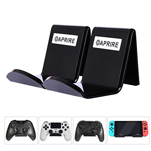 Controller Stand Wall Holder Mount for Xbox One PS4 Switch Pro - Pack of 2 OAPRIRE Acrylic Video Game Controller Accessories with Cable Clips - Black ()