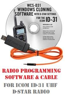 Icom ID-31 (ID31) UHF Two-Way Radio Programming Software & Cable Kit by RF Gear 2 Go