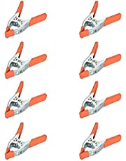 Houseables Spring Clamps, Heavy Duty Clamp, Metal, 8 Pack, 6 Inch, Orange, Large Strong Clips, Hand Squeeze Grip, Wide Jaw, Hardware Clap, for Photography, Furniture, Pony, Industrial
