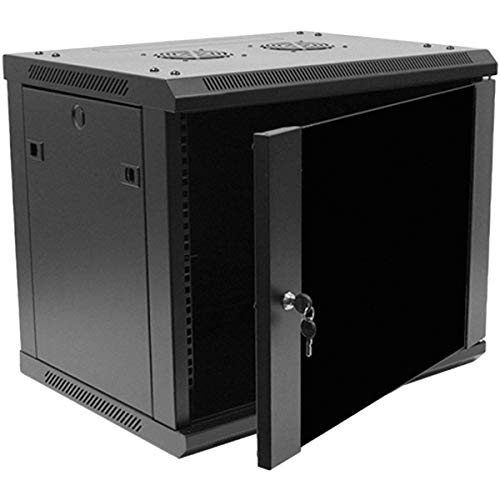 Navepoint 9U Deluxe IT Wallmount Cabinet Enclosure 19-Inch Server Network Rack With Locking Glass Door - Black