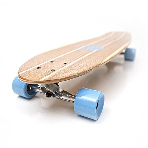 White Wave Rocket Bamboo Longboard Skateboard (31.5 inches) - Kicktail Longboard Skateboard