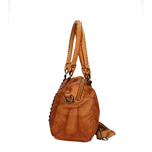 Chicca Borse Luxury Edition Shoulder Bag Vintage Borsa a Spalla da Donna in Vera Pelle 100% Genuine Leather 33x25x13 Cm