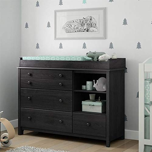 South Shore Little Smileys Changing Table with Removable Station, Gray Oak