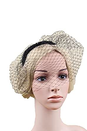 Vimans Women's Beaded Veil Hat Cocktail Party Headwear Fascinator with Headband Black