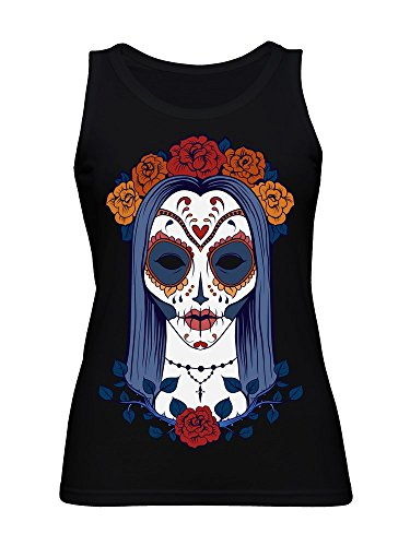 Beautiful Halloween Girl Drawing with Sugar Skull Style Face Paint Women's Tank Top -