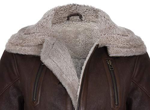 Infinity Leather Longs Manteau Homme Double Peau Brun
