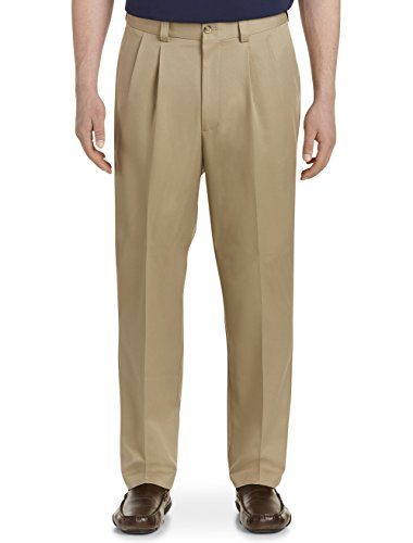 Mens Microfiber Double Pleat Pants - Oak Hill by DXL Big and Tall Waist-Relaxer Pleated Microfiber Pants- New & Improved Fit British Khaki