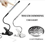 Bonlux Touch-sensitive Dimmable Flexible USB LED Table Lamp Reading Studying Light with Solid Clip (Black)