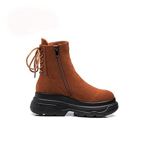 KUKI Botas de mujer, botas, además de cachemir, botas Martin, bizcocho, extremo grueso, aumentado, retro, zapatos de mujer black cotton