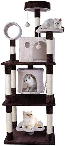 ARWEI Multi-Layered Cat Tree with Scratching Ball, Cat Scratching Posts Plush Perches Cat Condo, Cat Tower Pet Furniture Activity Center Play House