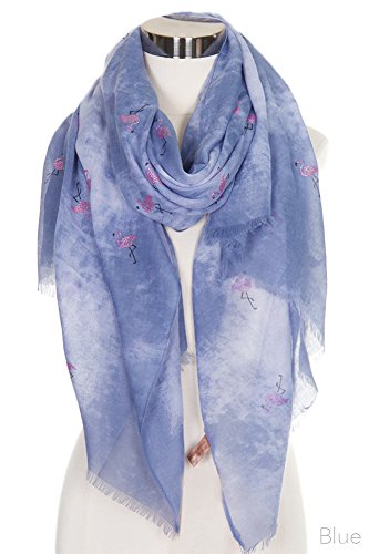 ScarvesMe Fashion Pink Glitter Flamingo Tie Dyed Print Oblong Scarf (Blue) by ScarvesMe