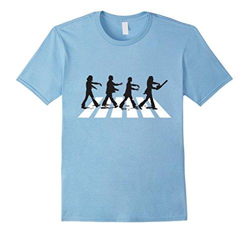 Mens Zombie Road Crossing - Funny Halloween Costume Shirt Medium Baby Blue