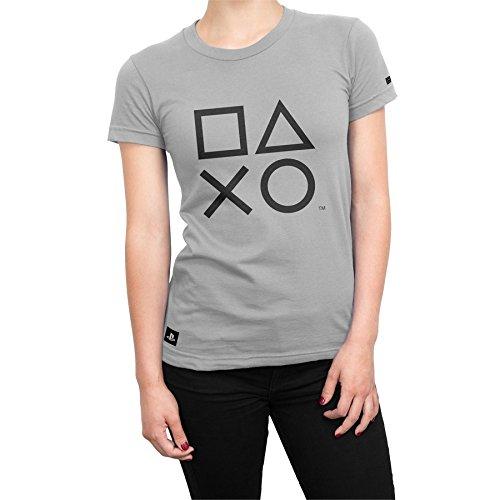 Camiseta Playstation Feminina Classic Symbols - Cinza - M